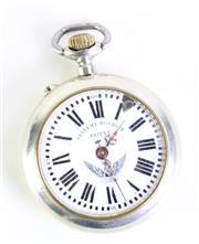 Sale 8985 - Lot 89 - A Systeme Roskopf open faced pocket watch, damage to enamel
