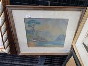 Sale 9024 - Lot 2068 - An Early watercolour and pastel depicting a Mountainside Lake, frame: 37 x 46 cm