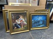 Sale 9072 - Lot 2081 - Group of (4) C19th Style European Paintings: Harbour Night Scene; Still Life; Ballerina; Curious Children, frames: 56  x 65cm, each