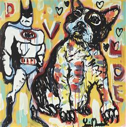 Sale 9157A - Lot 5032 - YOSI MESSIAH (1964 - ) The Good Boys, 2020 mixed media on board (unframed) 85 x 85 cm signed lower right, dated and titled verso