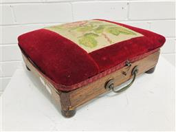 Sale 9097 - Lot 1010 - Victorian Rosewood Warming Footstool, with hinged red velvet & tapestry top, enclosing a tin hot-water container/ flask & carry hand...