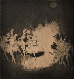 Sale 9161A - Lot 5072 - NORMAN LINDSAY (1879 - 1969) - Ballet 20.5 x 20 cm (frame: 60 x 50 x 4 cm)