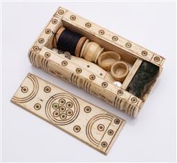 Sale 9190E - Lot 69 - A bone cased sewing wares
