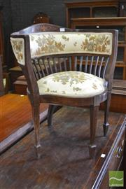 Sale 8335 - Lot 1097 - Late Victorian Inlayed Mahogany Corner Chair, with cut moquette upholstery