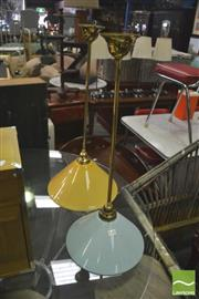 Sale 8406 - Lot 1092 - Pair of Light Fittings with Glass Shades