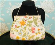Sale 8448A - Lot 58 - Vintage 1940s hand embroidered floral clutch purse/handbag featuring beautiful colourful flower hand embroidery on cotton/linen fab...