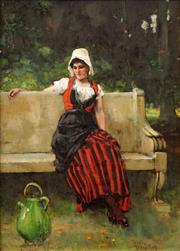 Sale 8633 - Lot 560 - Henry John Yeend King (1855 - 1924) - Untitled (Seated Woman) 27 x 19cm