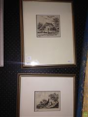 Sale 8622 - Lot 2089 - W. Bos (2 works) - Dutch Country Village Scenes, engravings, 46 x 37 cm (frame sizes), each signed lower left