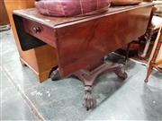 Sale 8714 - Lot 1081 - Regency Mahogany Pembroke Table, on square pedestal, with quadraform base & paw feet