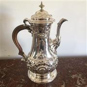Sale 8878T - Lot 17 - George III English Hallmarked Sterling Silver Coffee Pot London, 1766, Later finial  , Height 28cm, Weight - 983 grams (includin...