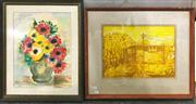 Sale 8941 - Lot 2054 - Pair of Original Works by Lin How Still Life& Hut, each signed (frames: 47 x 56cm; 52 x 42cm)