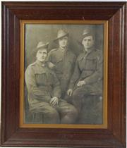 Sale 8994W - Lot 608 - Framed Photograph Of Three Australian Soldiers (71cm x 61cm)