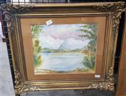 Sale 9019 - Lot 2008 - R. Wilson Mountainside Lake, 1910, watercolour, frame: 40 x 48 cm, signed and dated lower right