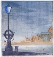 Sale 9055A - Lot 5067 - Mary P. Harris (1891 - 1978) - Ocean Pier, Hobart 21 x 20.5 cm (frame: 52 x 42 x 2 cm)