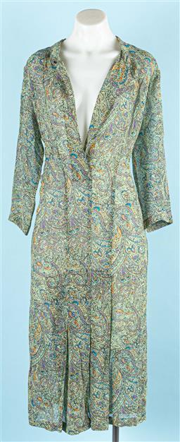 Sale 9091F - Lot 62 - A ZAMBESI GREEN PAISLEY SHIRT FROCK; 100% silk, made in NZ, size 8