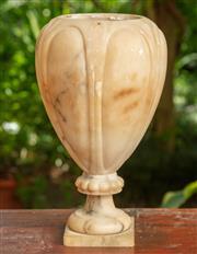Sale 9071H - Lot 70 - An Alabaster baluster vase missing lid, Height 49cm