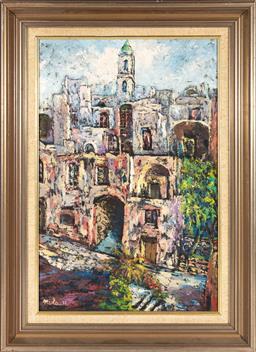 Sale 9190E - Lot 93 - Miola?, oil on board, Vecchia Sanremo street scene, signed and dated lower left 73, 59cm x 38.5cm