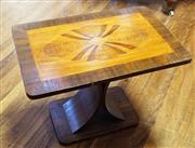Sale 8320 - Lot 901 - 1950s Art deco walnut coffee table with parquetry inlay and sweeping base