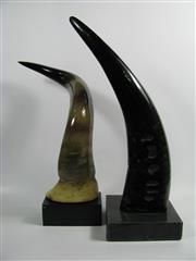 Sale 8331A - Lot 561 - Buffalo Horn (polished) & Another (faux) on Marble Stands