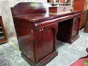 Sale 8559 - Lot 1059 - Mid 19th Century Cedar Double Pedestal Sideboard, with shaped back, three cushion shaped drawers & two arched panel doors with full...