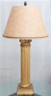 Sale 8562A - Lot 29 - A gilt Corinthian column ceramic table lamp with cinnamon shade, total H 80cm