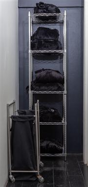 Sale 8761A - Lot 92 - A five tier metal rack, H x 180cm, W x 45cm together with a similar laundry basket