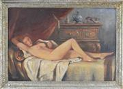 Sale 8767 - Lot 2058 - Max Mandlinger Reclined Nude, München 1945 oil on canvas, 59 x 89cm, signed and dated -