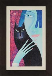 Sale 8828 - Lot 2020 - Eduard Nikonorov (1951 - ) - Untitled (Woman and Cat), 2005 40 x 23cm