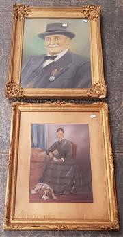 Sale 9019 - Lot 2094 - Two Portrait Paintings depicting an War Hero and a Dowager
