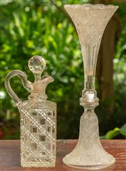 Sale 9071H - Lot 71 - An unusual glass trumpet vase together with a hobnail decorated decanter and stopper, Height of larger 37cm