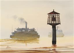 Sale 9096 - Lot 504 - Phil Belbin (1925 - 1993) Bennecont Point Karabella Kookaburra, 1934 watercolour 34.5 x 49 cm (frame: 57 x 70 x 3 cm) signed lower...