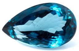 Sale 9124 - Lot 398 - AN UNSET 18.93CT LONDON BLUE TOPAZ; pear cut, size 20.44 x 12.70 x 9.51mm.