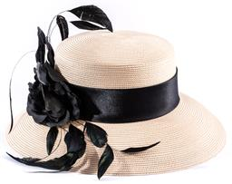 Sale 9145 - Lot 398 - A FRILLES COLLECTION SUMMER STRAW HAT BY CUPIDS MILLINERY, medium size 56-57cm, length of brim 9cm, black ribbon, feathers and rose...