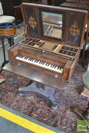 Sale 8335 - Lot 1084 - Mid-19th Century Rosewood Ladys Entertainment Cabinet, the hinged top with musical trophy, enclosing an adjustable mirror & fitted...