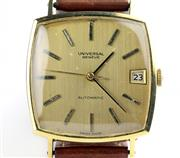 Sale 8402W - Lot 37 - UNIVERSAL 18CT GOLD AUTOMATIC WRISTWATCH; cushion shape case with brushed golden dial, applied markers, centre seconds, date, on a 2...