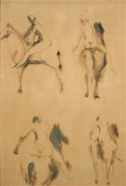 Sale 8665 - Lot 585 - Attributed to Elisabeth Frink (1930 - 1993) - Studies - Model and Horse 53 x 36cm