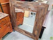 Sale 8593 - Lot 1059 - Modern Timber Framed Mirror (91 x 90cm)