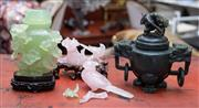 Sale 8746 - Lot 1081 - A Chinese dark green jadite censor with a light green covered vase (cover damaged) and a pink quartz bird figure (damaged) with some...