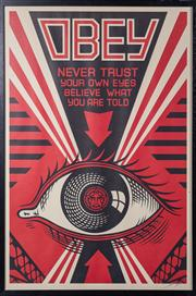 Sale 8761A - Lot 93 - A framed lithograph by Shepherd Fairey, Obey Never trust your own eyes, believe what you are told, 94 x 64 SLR