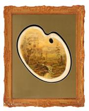 Sale 8795A - Lot 84 - J. A. Turner- River Landscape, oil on Artists Palette, 57x46cm, signed lower left.