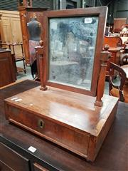 Sale 8848 - Lot 1067 - Small Louis Philippe Mahogany Toilet Mirror, with turned supports and a drawer (Key in office)