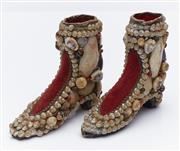 Sale 9080W - Lot 94 - A pair of Victorian shell encrusted red velvet boots. Height 11cm