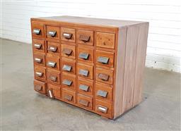 Sale 9151 - Lot 1086 - Vintage oak 25 drawer card filer (h:72 x w:92 x d:45cm)