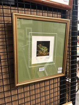 Sale 9147 - Lot 2064 - Yngvar Stroem-Hansen (two works)  Bell Frogs & Croak handcoloured woodcut, editioned, frame: 34 x 31 & 27 x 25 cm, signed lower right