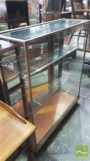 Sale 8375 - Lot 1088 - Vintage Oak, Brass & Glass Shops Display Cabinet
