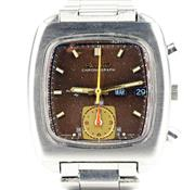 Sale 8402W - Lot 32 - SEIKO MONACO AUTOMATIC CHRONOGRAH WRISTWATCH; ref; 7016-5001 in stainless steel with cushion shape bronze dial, centre seconds, subs...