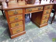 Sale 8462 - Lot 1055 - Late Victorian Walnut Double Pedestal Desk, with seven drawers having figured oak facings
