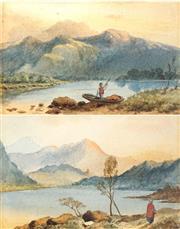 Sale 8459 - Lot 573 - Emma Minnie Boyd (1858 - 1936) (2 works) - Untitled (Figures Along a Highland River) 9 x 14.5cm