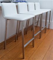 Sale 8595A - Lot 67 - Four white leatherette bar stools, each H of back 93 x D 45 x W 45cm