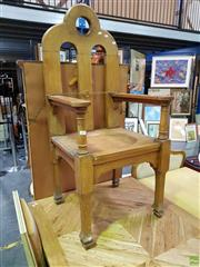 Sale 8620 - Lot 1094 - Timber Gothic Style Armchair